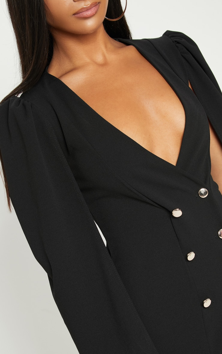 Black Cape Button Detail Blazer Dress 5
