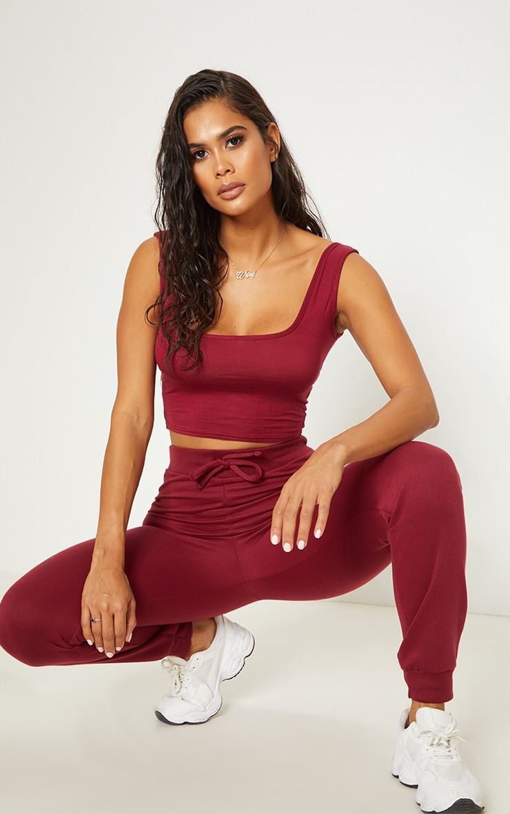 Basic Burgundy Jersey Square Neck Crop Vest  1