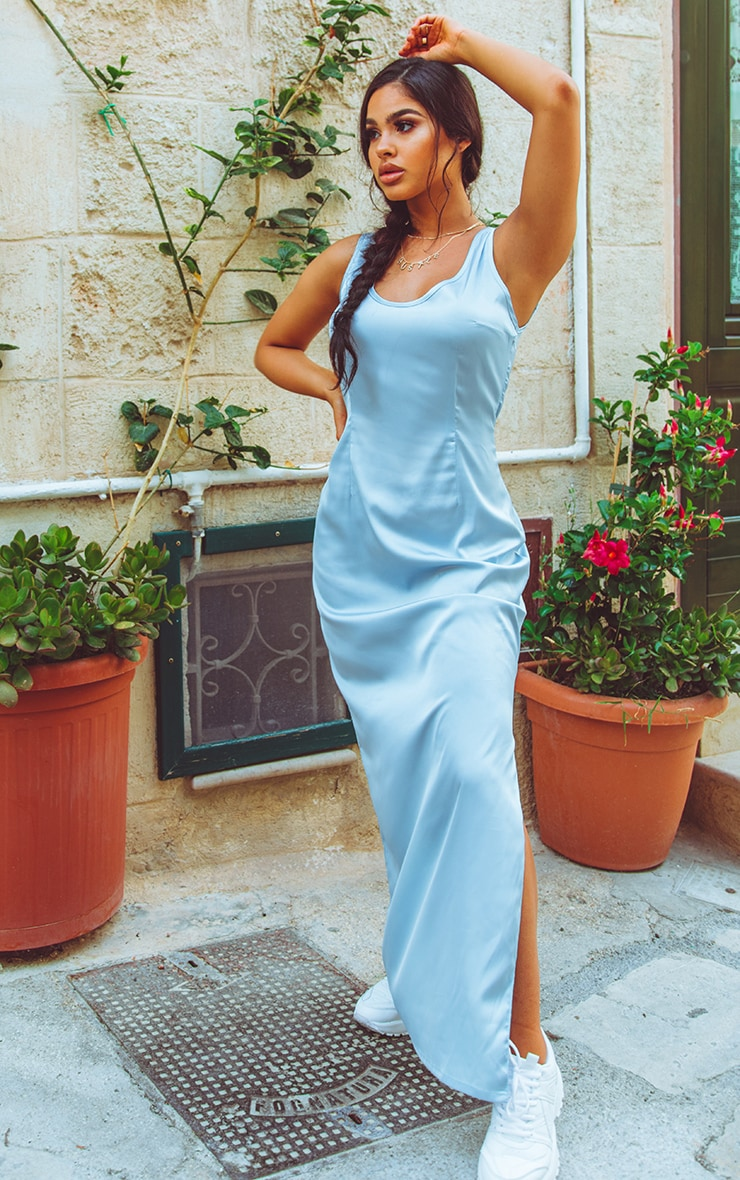 Baby Blue Satin Fitted Maxi Dress 1