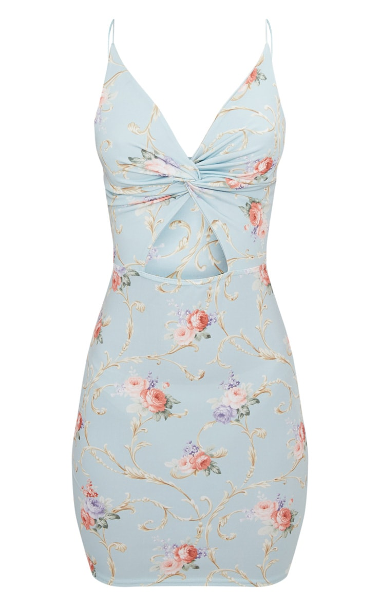 Dusty Blue Floral Strappy Wrap Dress 3