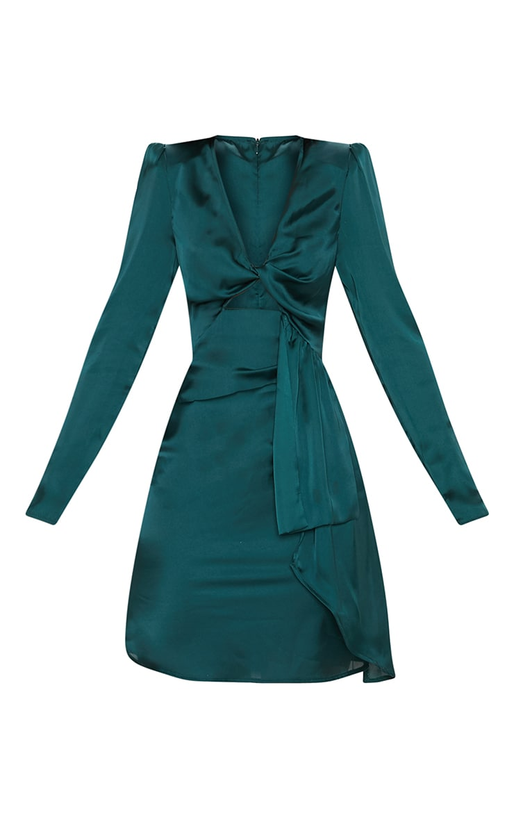 Emerald Green Satin Shoulder Pad Wrap Bodycon Dress 3