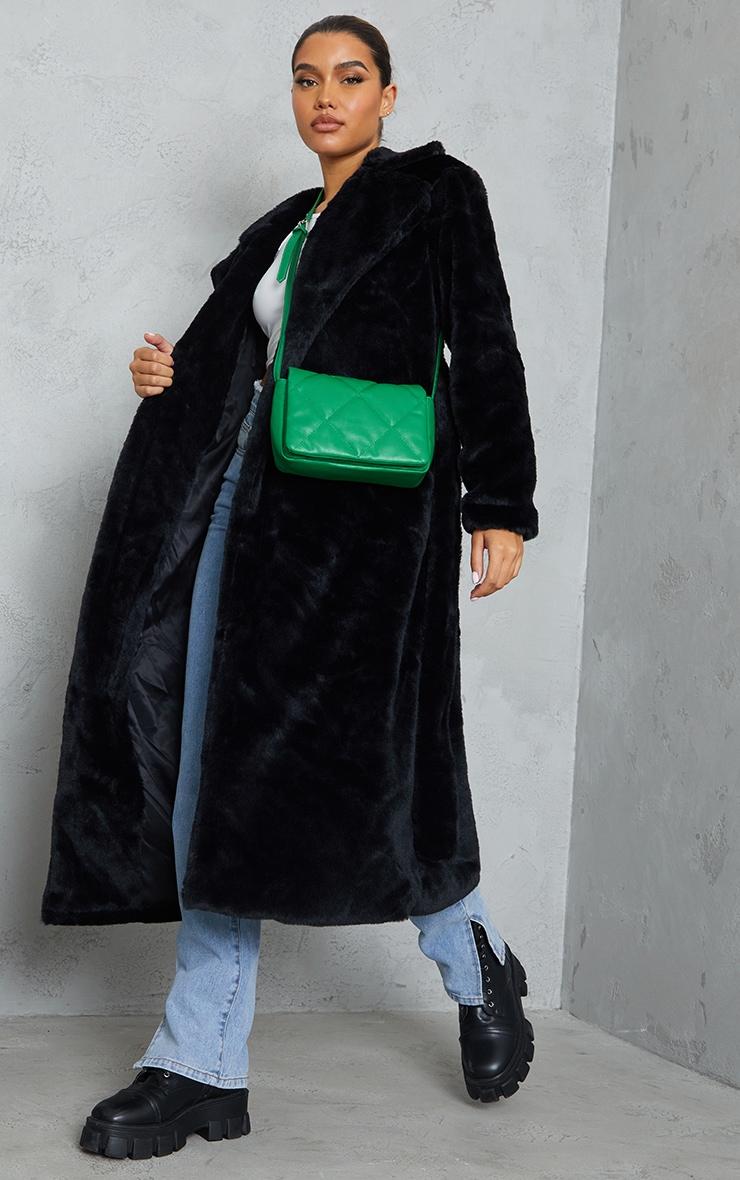 Black Belted Faux Fur Coat 3