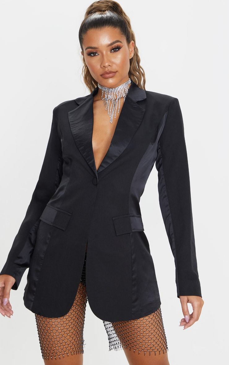 Black Satin Contrast Fitted Longline Blazer 1