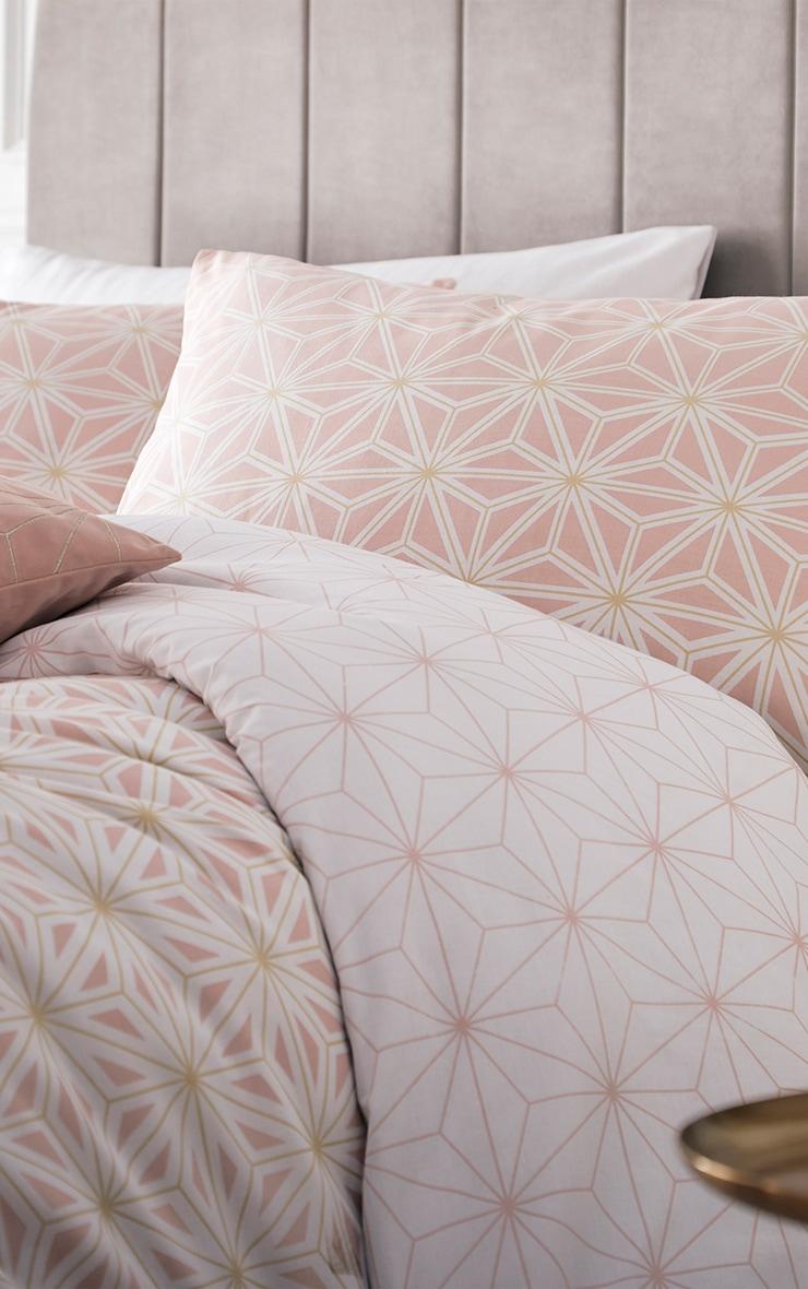 Pink Geometric Reverse Print Single Duvet Set 2