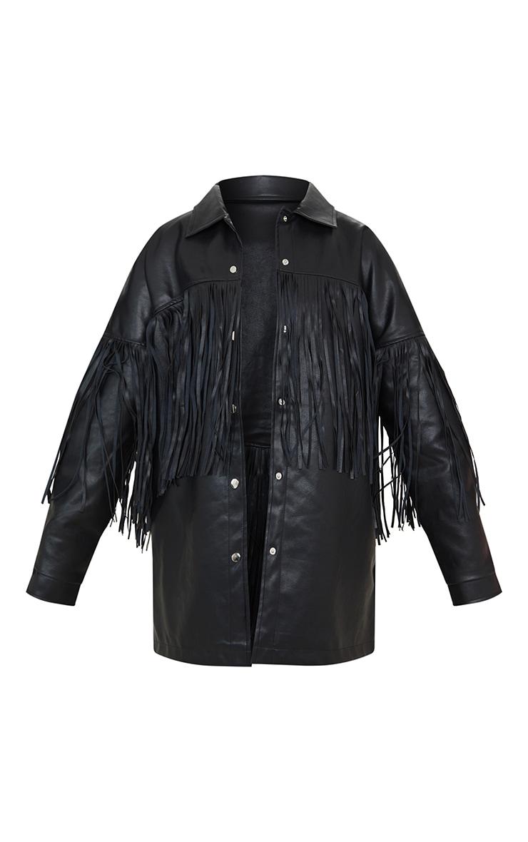 Black Faux Leather Fringe Shacket 5
