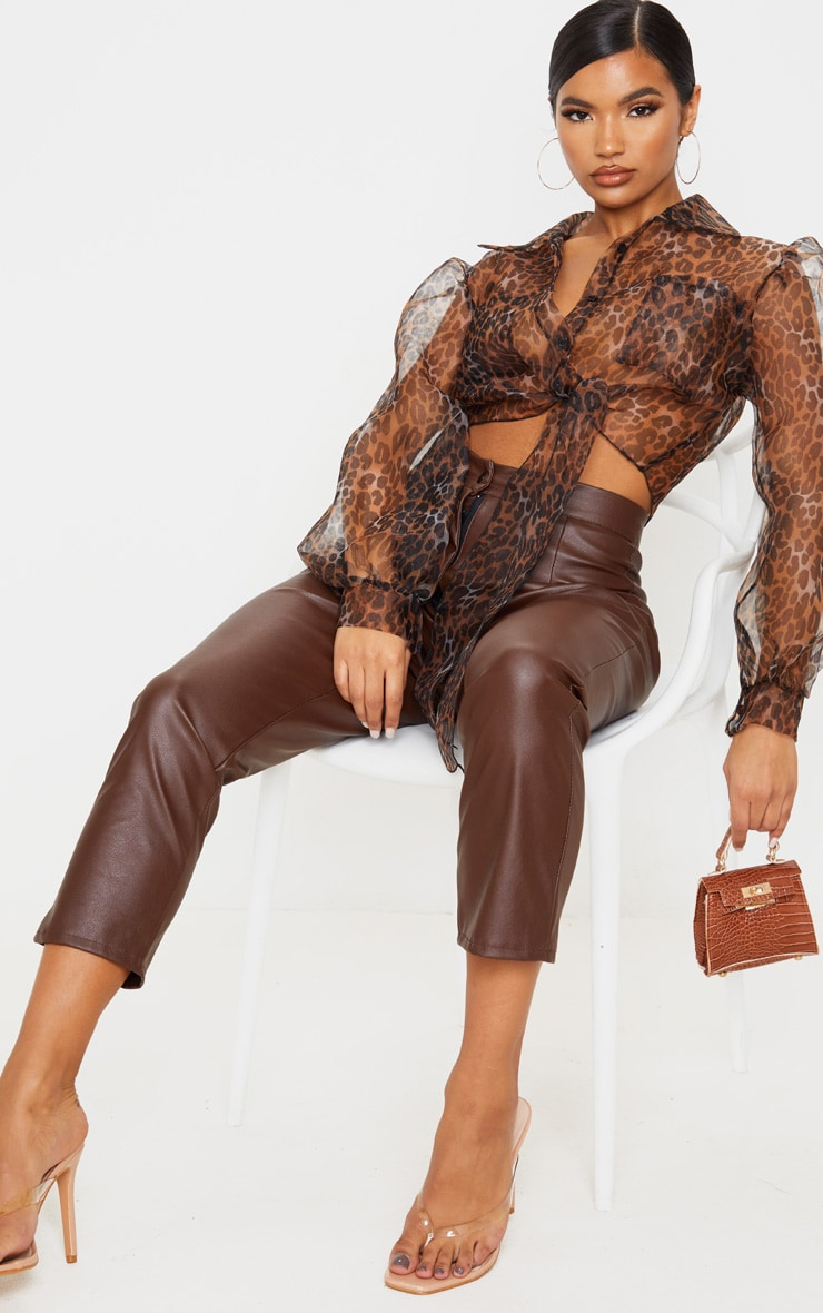 Tan Leopard Sheer Tie Front Cropped Blouse 4