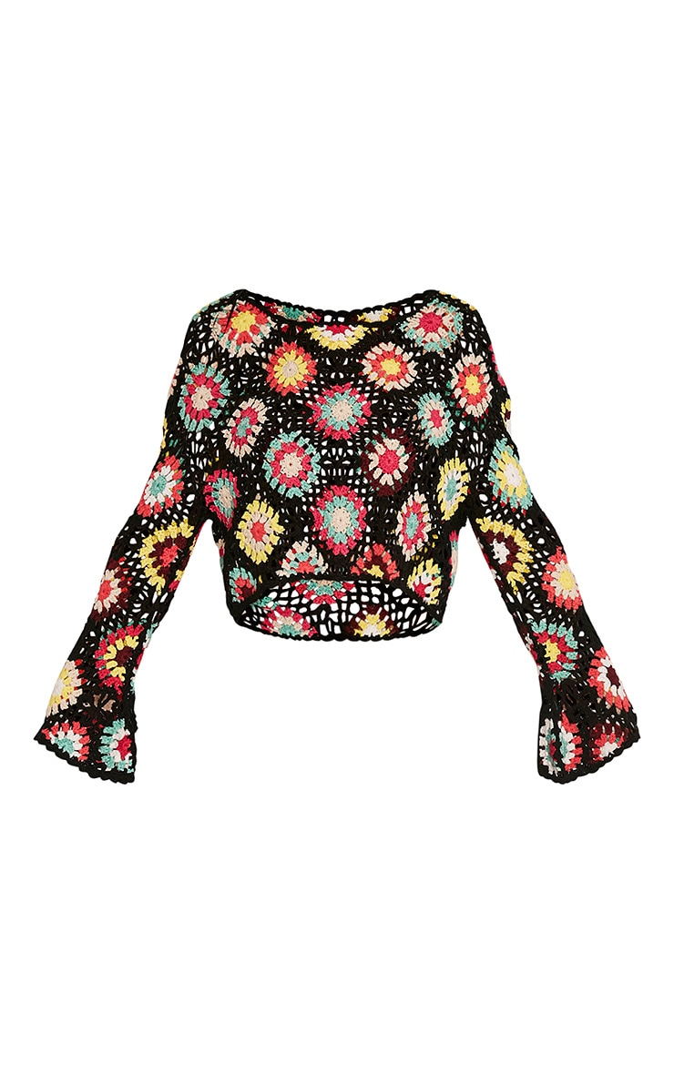 Anthia Black Patchwork Bell Sleeve Crochet Knitted Top 3