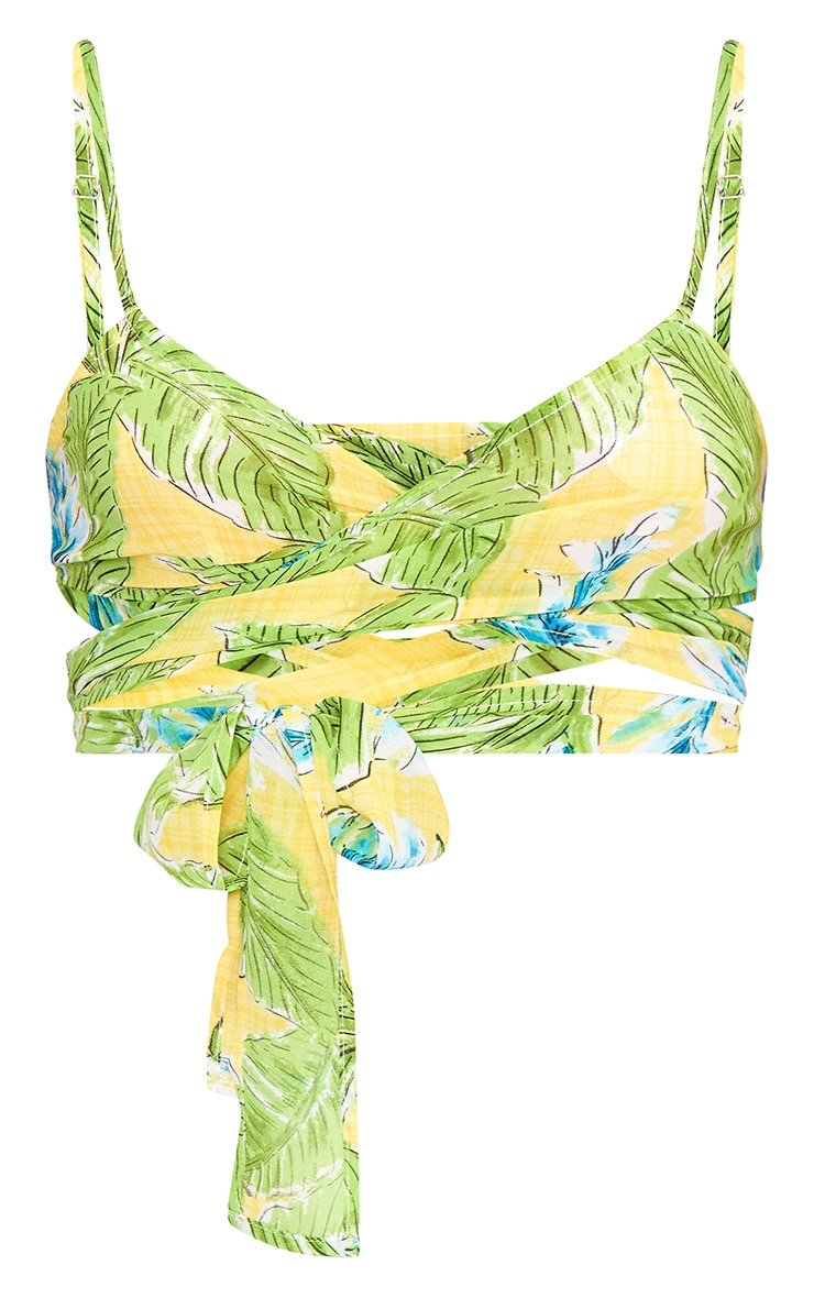 Yellow Beachwear Tropical Floral Print Crop Top  3