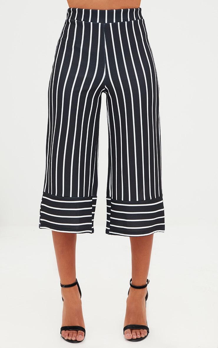 Petite Black Contrast Stripe Culottes 2