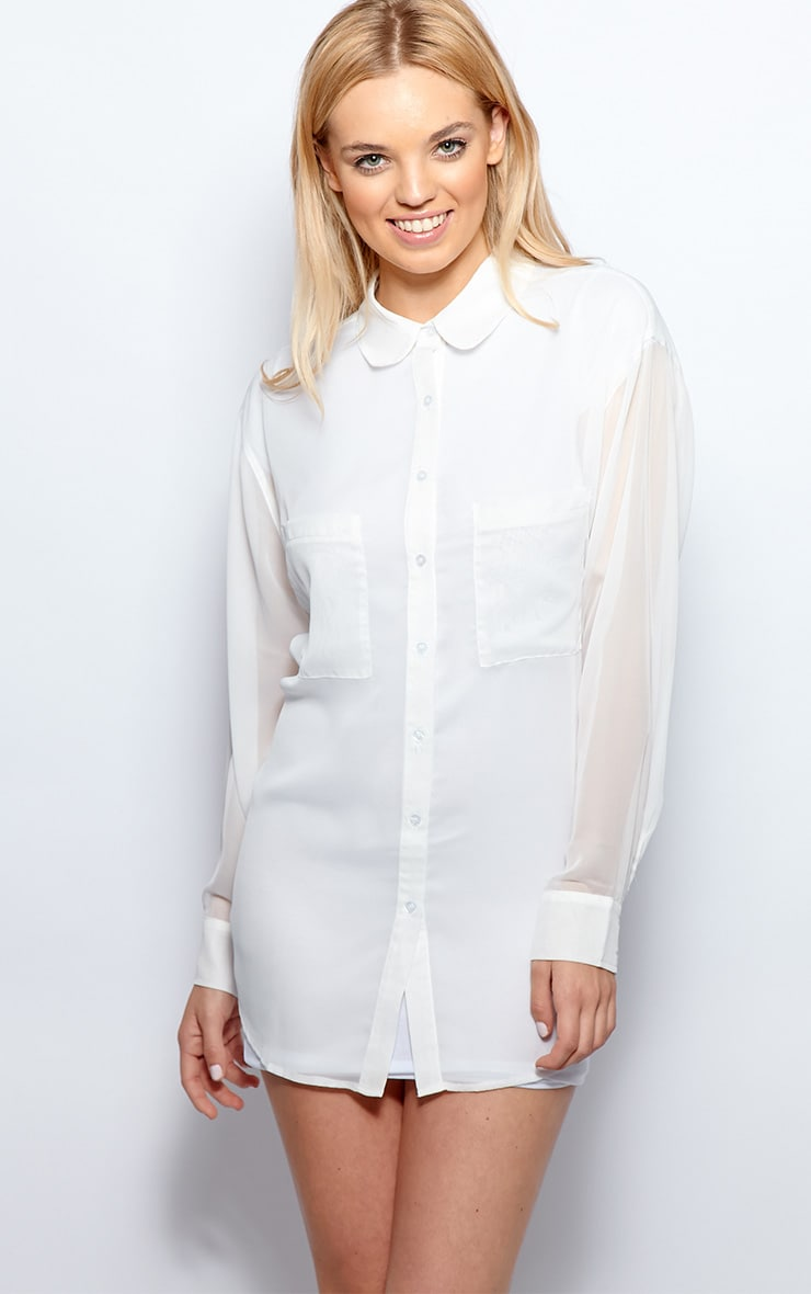 Esme White Sheer Oversized Shirt 5