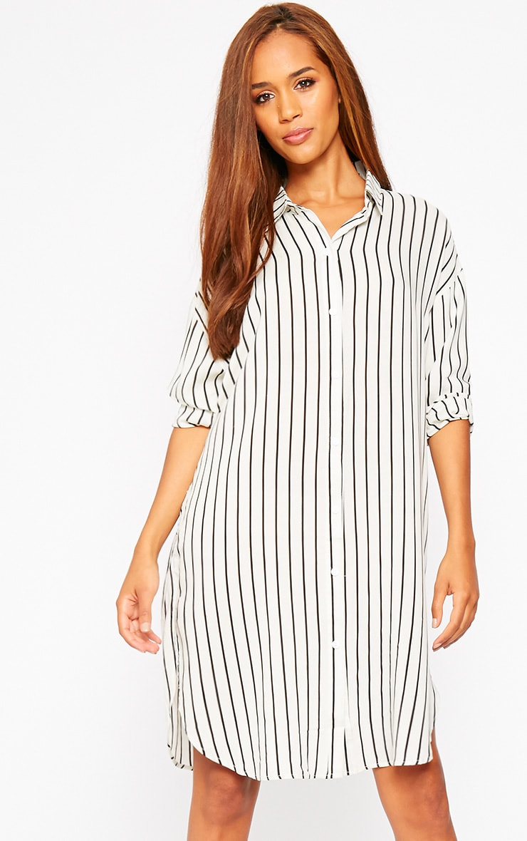 Bria Cream Stripe Shirt Dress 1