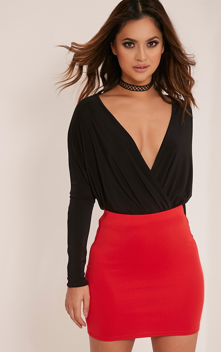 Milah Red Scuba Mini Skirt
