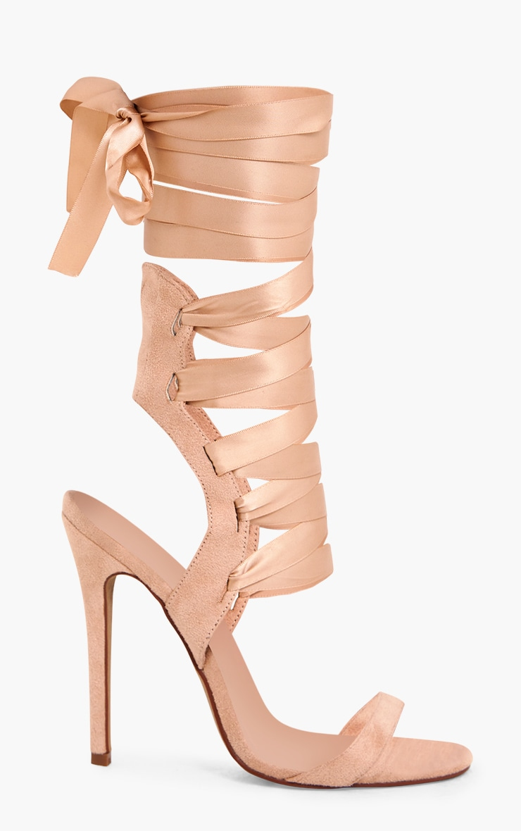 Lorele Nude Ribbon Lace Up Heeled Sandals 4