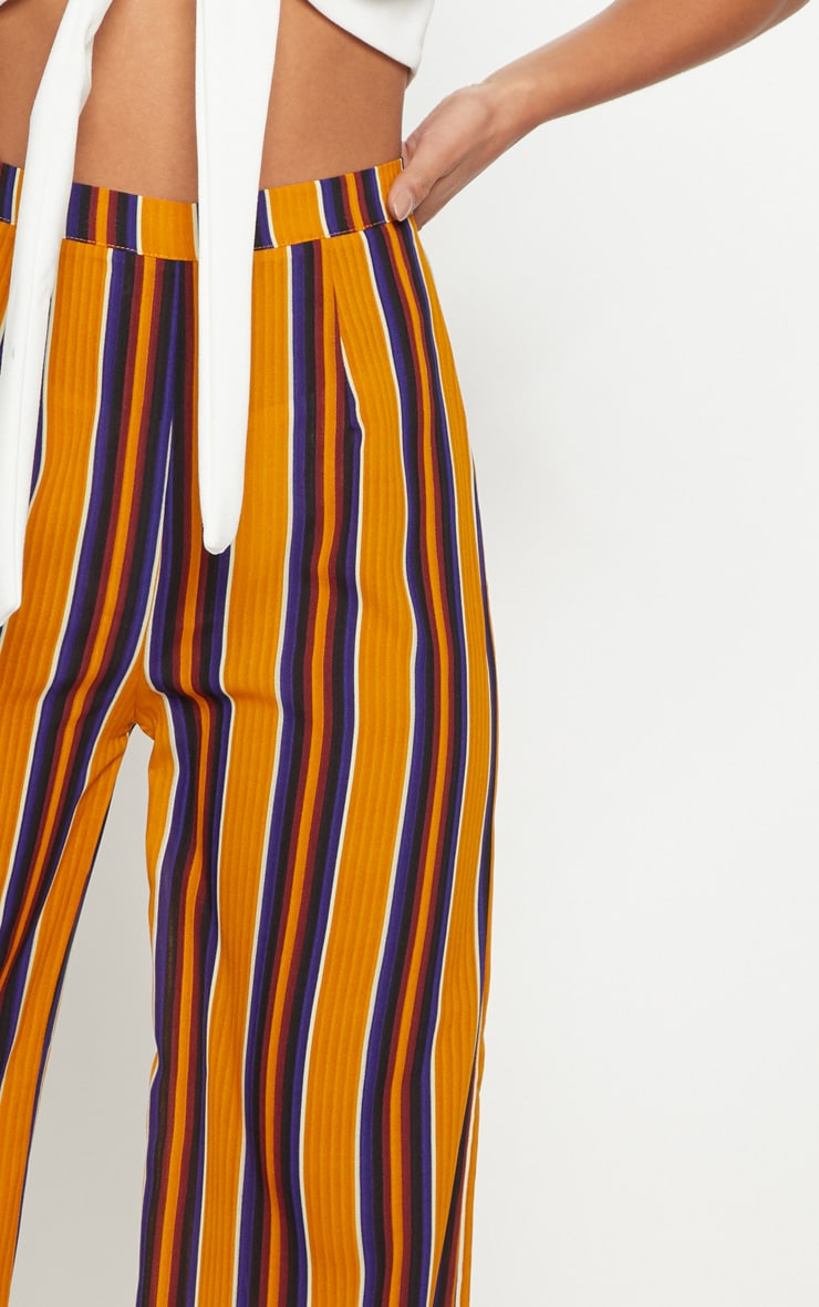 Petite Mustard Striped Wide Leg Trousers 5