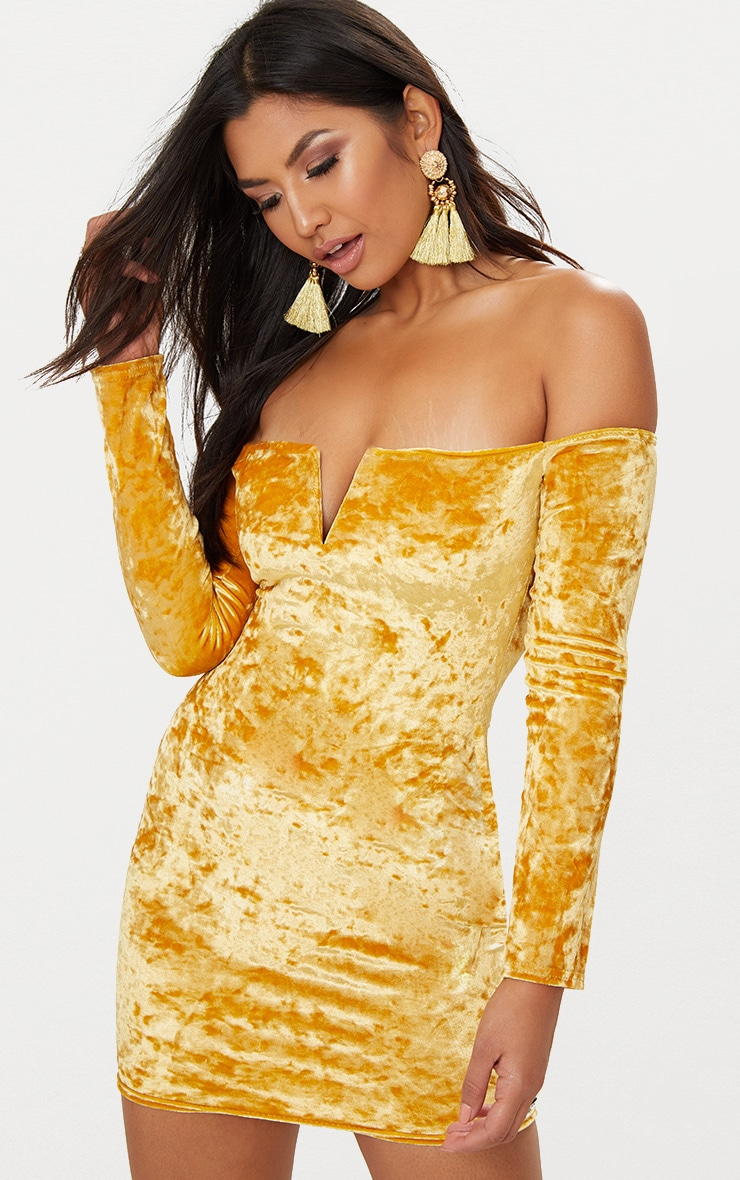 Mustard Velvet V Bar Bardot Bodycon Dress 1