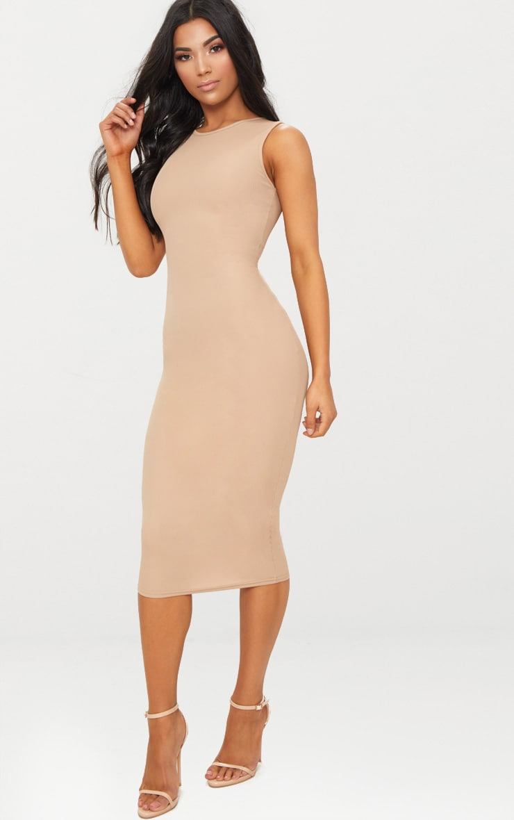 Basic Stone Ribbed Midi Dress 4