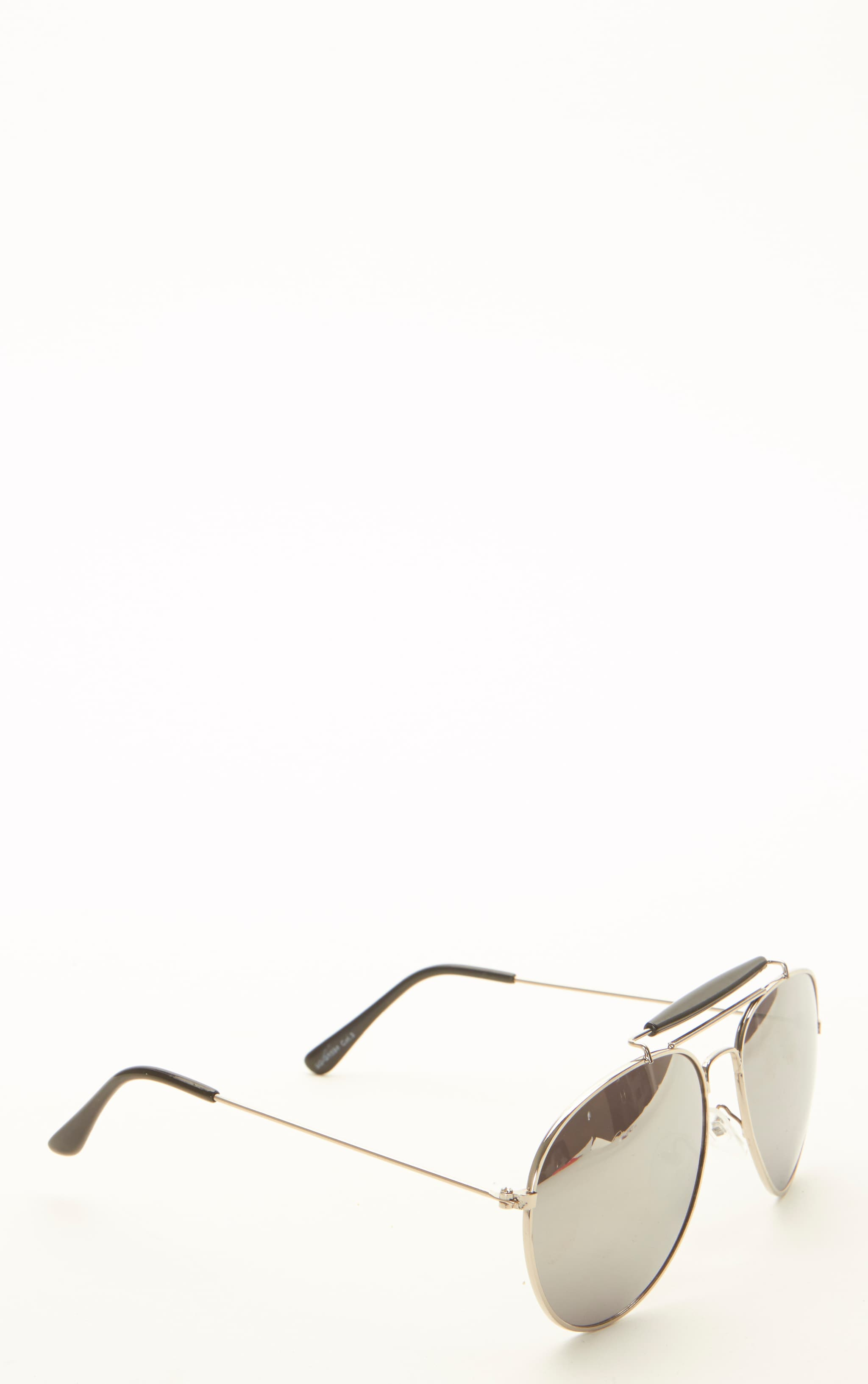 Lila Silver Frame Black Bar Aviators 6