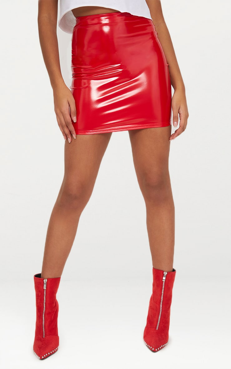 Petite - Mini-jupe rouge en vinyle 2