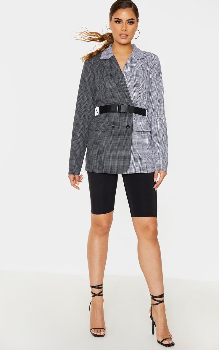 Tall Black Contrast Buckle Belt Blazer 4