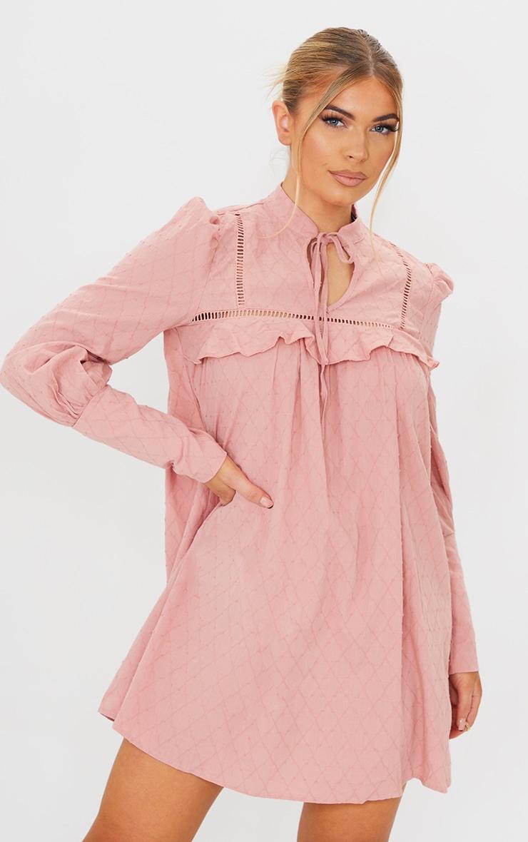 Blush Swiss Dot Tie Neck Detail Shift Dress 1