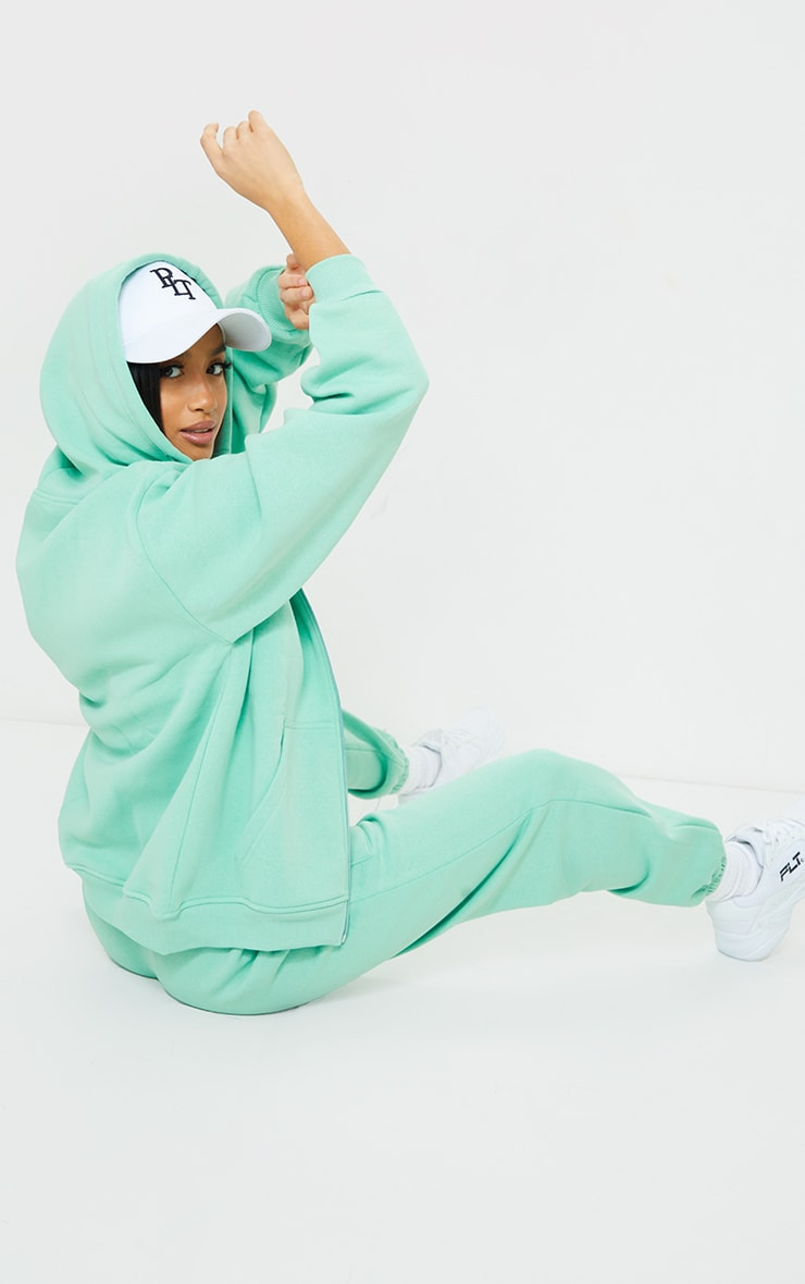 Petite Green Extreme Oversized Pocket Front Zip Through Hoodie 2