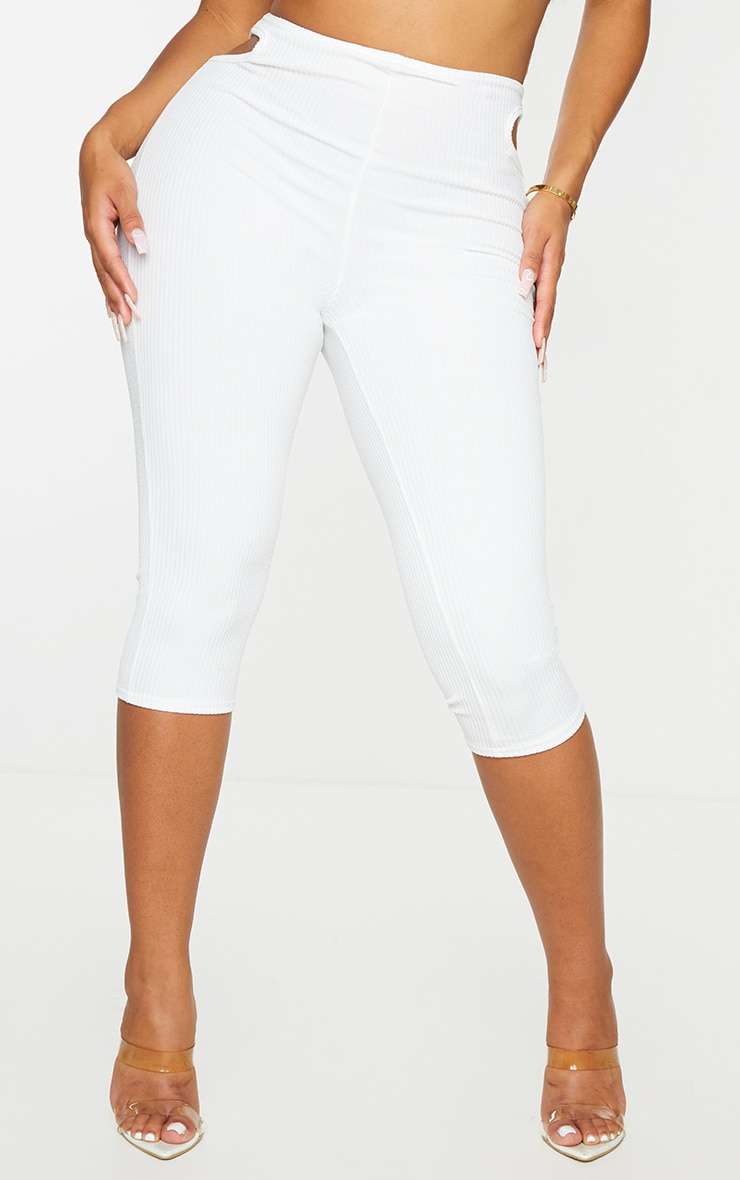Shape White Textured Rib Cut Out Side Cropped Leggings 2