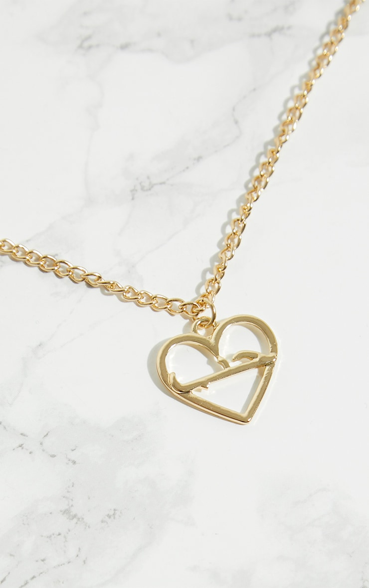 Gold Heart Script Necklace 3