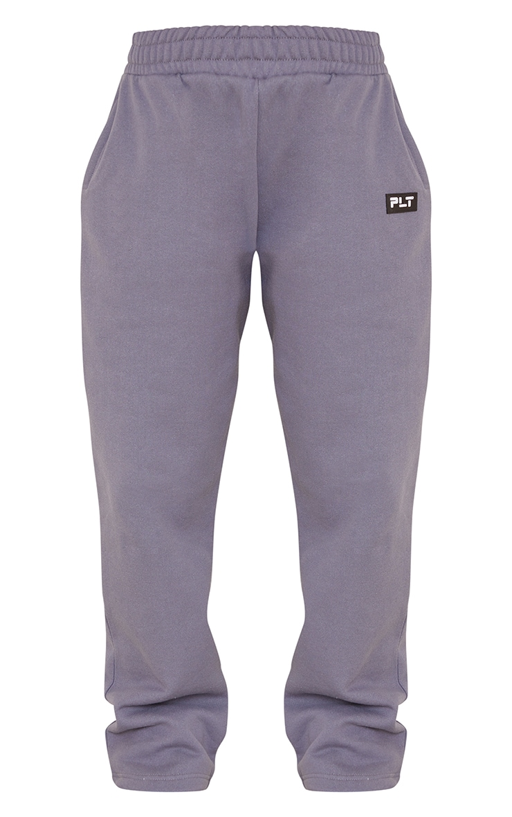 PRETTYLITTLETHING Petite Charcoal Badge Detail Straight Leg Joggers 5
