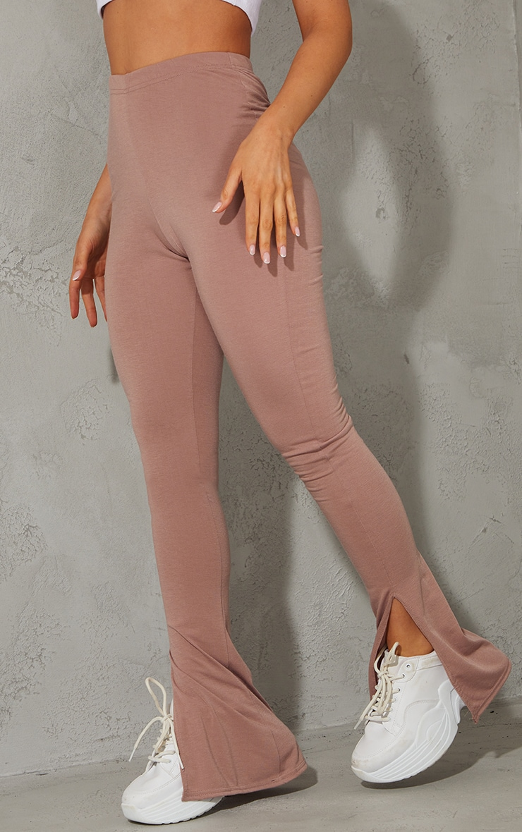 Mauve Basic Jersey Split Hem Leggings 2
