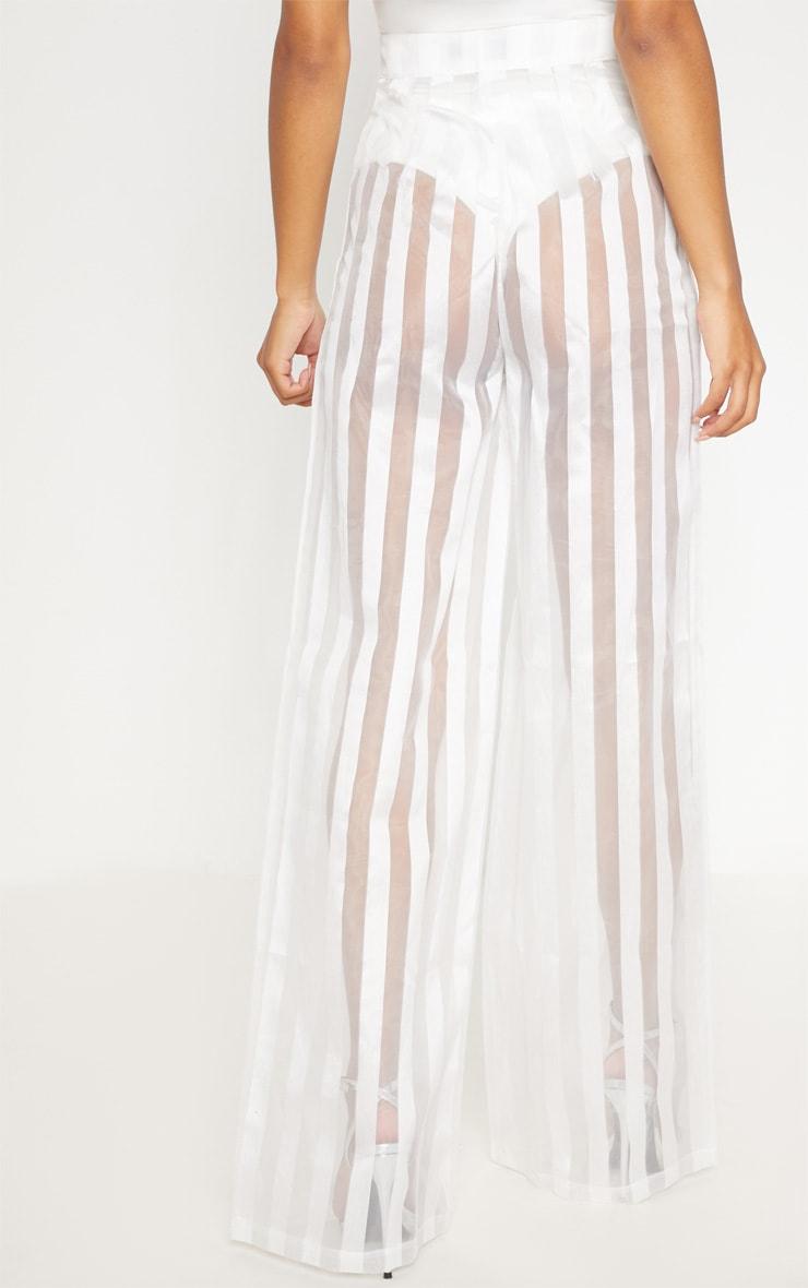 White Sheer Stripe Wide Leg trouser 4