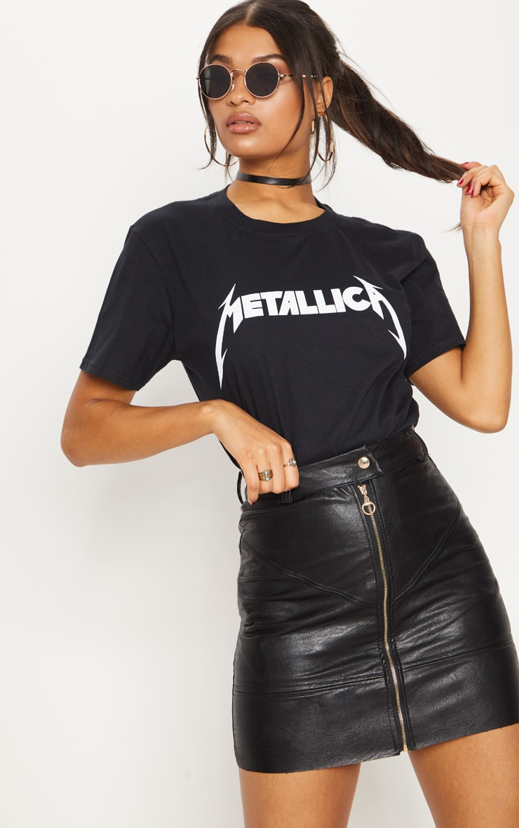 Tee-shirt noir de rock à slogan Metallica 1