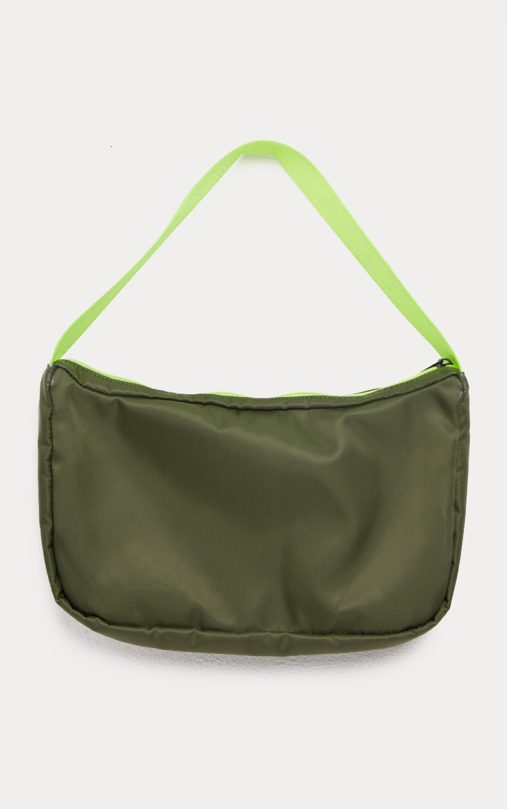 Khaki Double Pocket Nylon Shoulder Bag 3