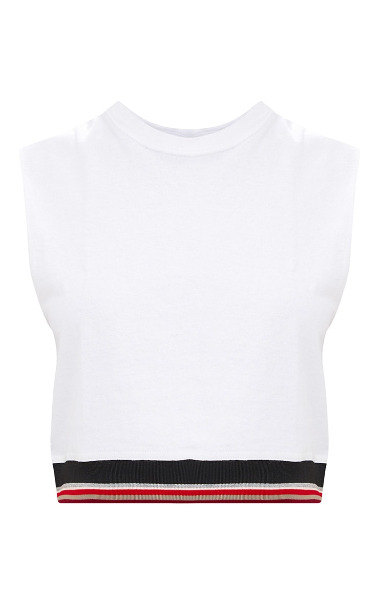 White Sport Trim Jersey Cropped Vest 3