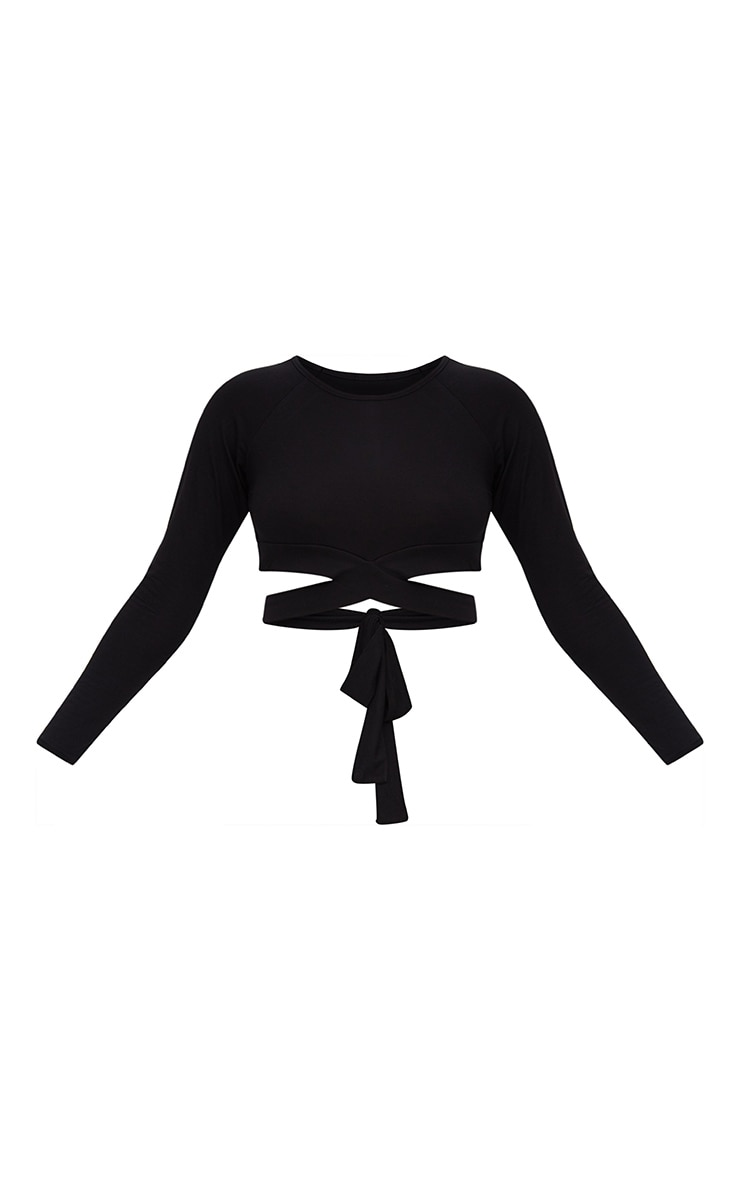 Black Cross Front Longsleeve Crop Top  3