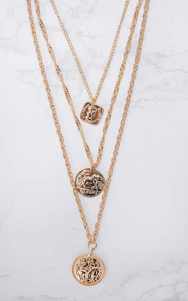 Gold Renaissance Triple Layer Coin Necklace 3