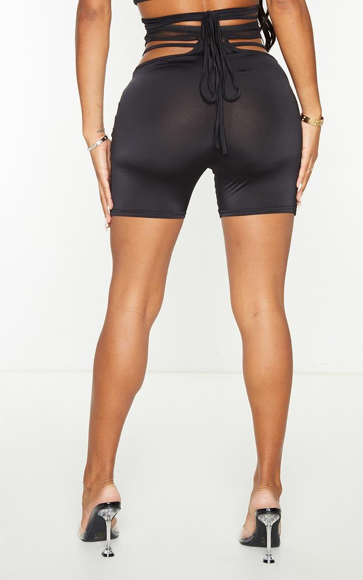 Shape Black Mesh Insert Cut Out Side Bike Shorts 3