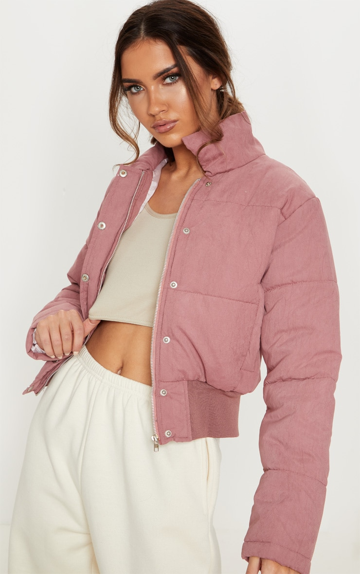 Pink Peach Skin Cropped Puffer Jacket 1