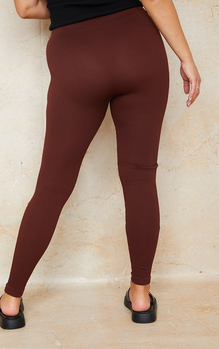 Maternity Dark Brown Contour Bump Support Ribbed Leggings 3
