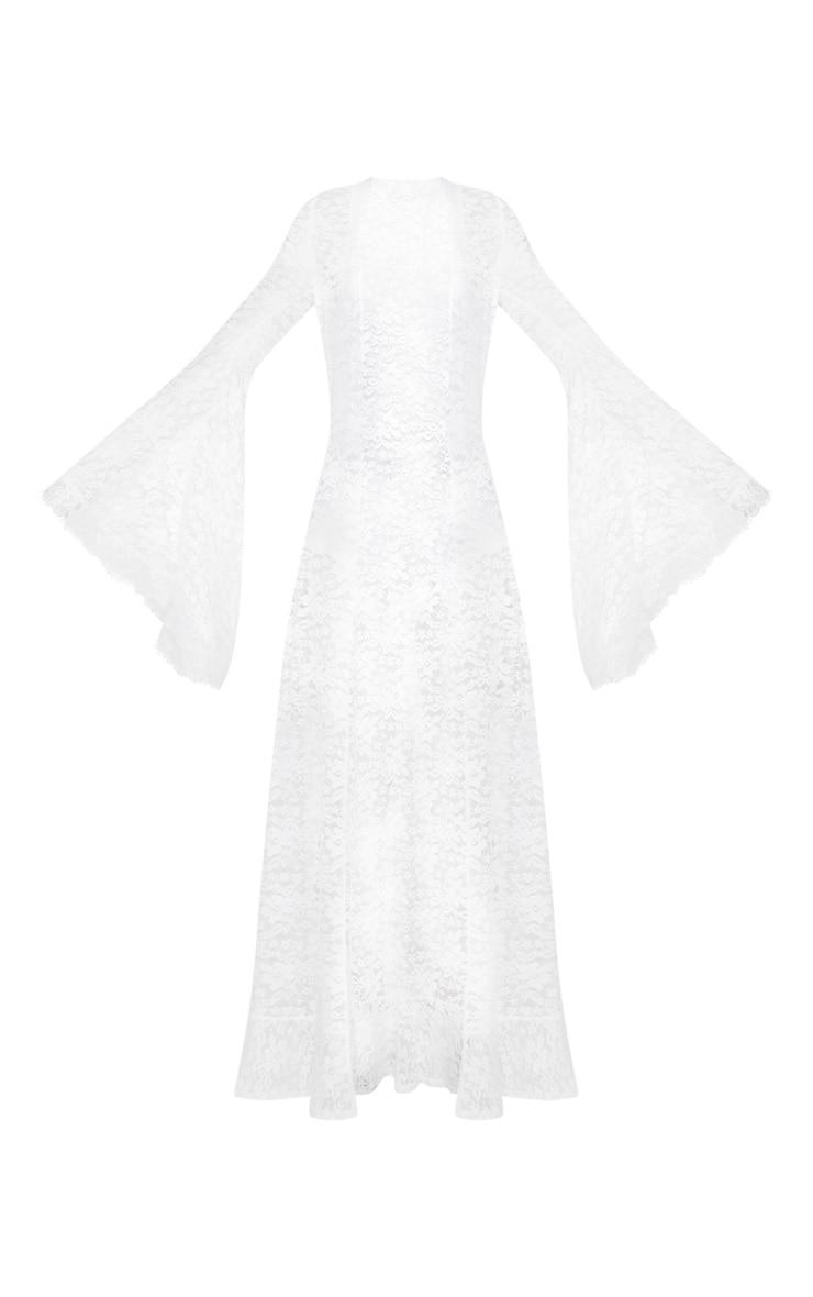 White Flare Sleeve Lace Kimono 3