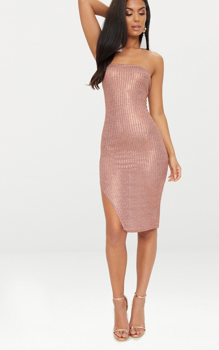 Rose Gold Ribbed Extreme Split Bandeau Midi Dress 1