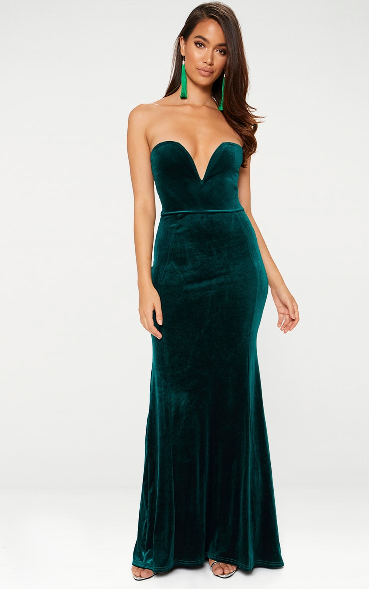 Emerald Green Strapless V Plunge Maxi Dress 1