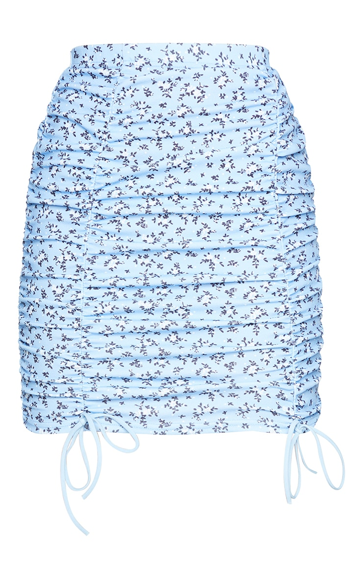 Blue Floral Ruched Front Mini Skirt 6