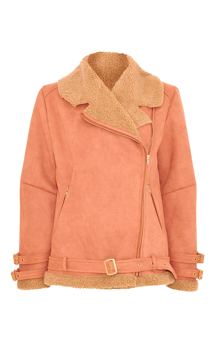 Emilia Deep Peach Faux Suede Aviator Jacket 4