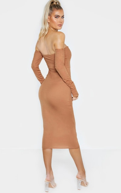 Tall Camel Bardot Bow Detail Long Sleeve Dress