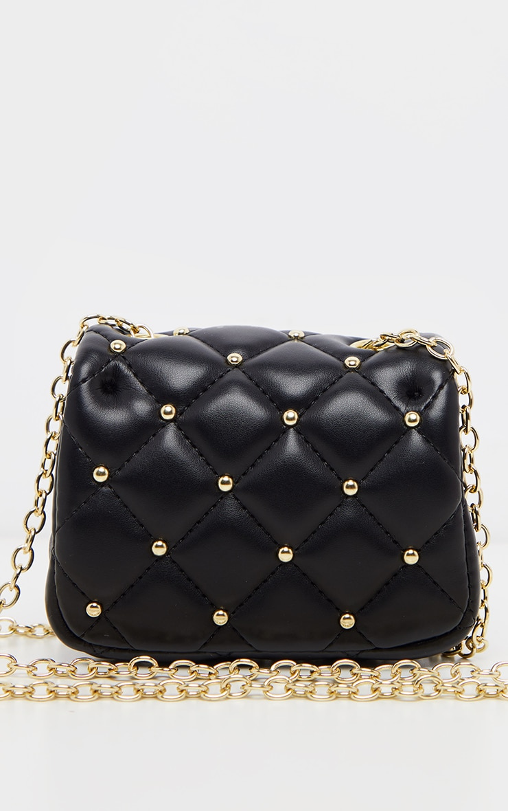 Black PU Quilted Studded Mini Cross Body Bag  3