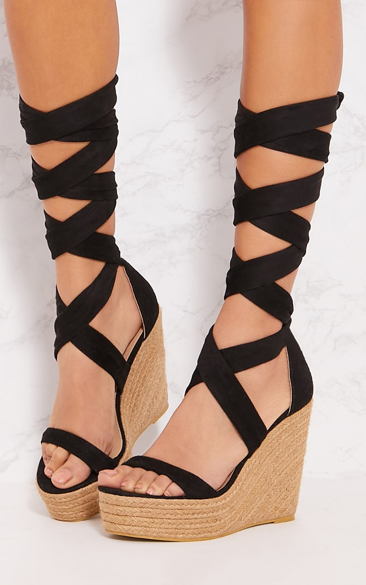 Black Leg Wrap Espadrille Wedge Sandal 2