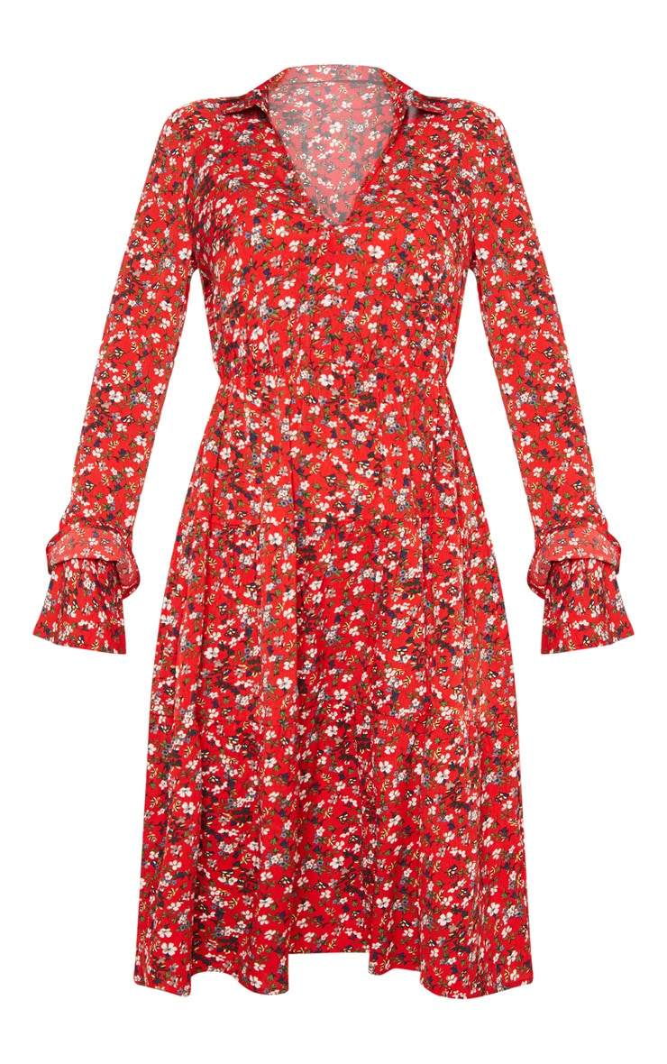 Robe rétro rouge florale à superpositions de volants 3