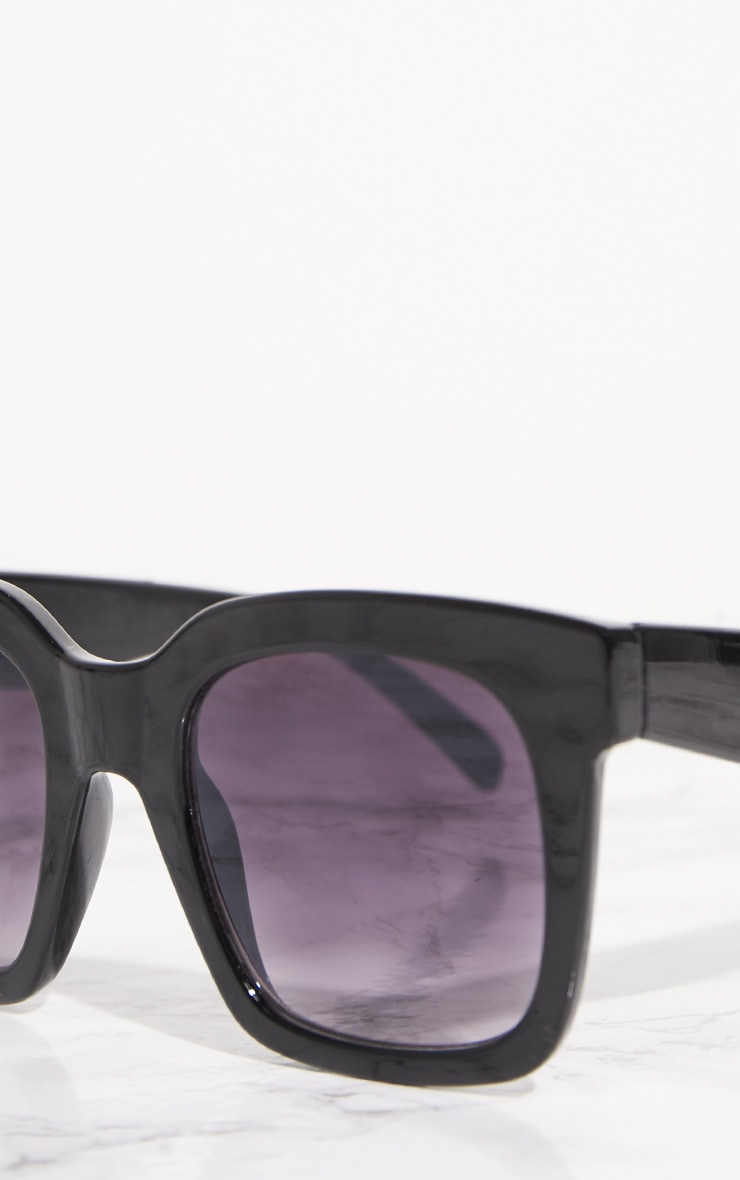 Black Shiny Oversized Square Sunglasses 4