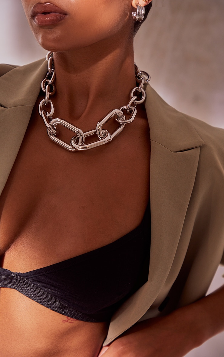 Silver Assorted Size Chunky Chain Necklace