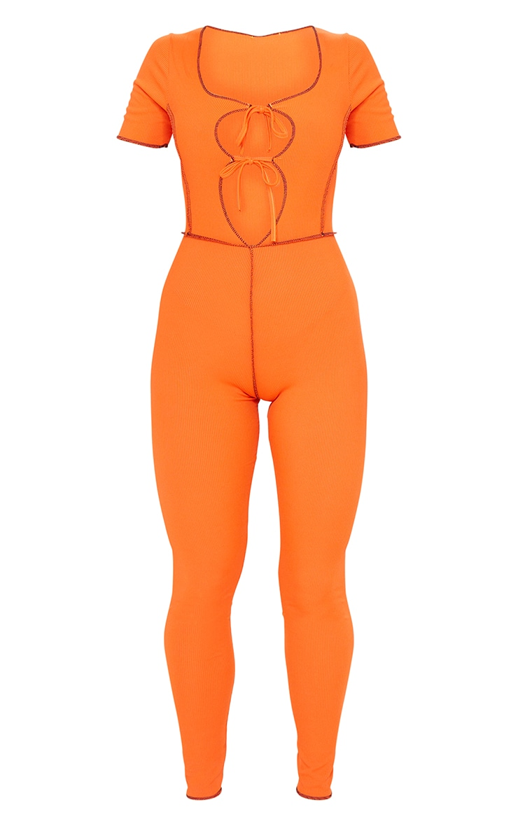 Orange Tie Front Contrast Seam Short Sleeve Jumpsuit 5